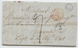 BELGIQUE - T18 WELLIN + BOITE W SUR LETTRE AVEC TEXTE DE TRANSINNE POUR LA FRANCE, 1848 - 1851-1857 Médaillons (6/8)