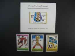 Timbre ND non Dentelé Neuf ** MNH - Imperf   Coupe Du Monde De Football  1978  Mauritanie N° 392 à 394 + BF 21 - Coppa Del Mondo