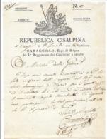Département Conquis Lettre De Varese AN 10 Belle Vignette Caracciolo Régiment Cacciatori Cavallo - Documents Historiques