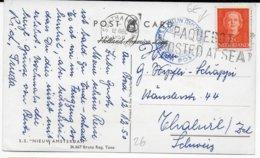 "MARITIME - NEDERLAND - 1950 - CARTE Du ""NIEUW AMSTERDAM"" - AMERICA-LINE Avec GRIFFE ""PAQUEBOT POSTED AT SEA"" => SUISSE - Marcofilia"