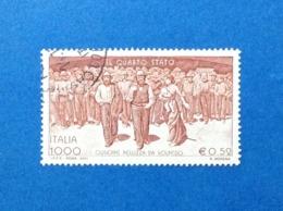 2001 ITALIA FRANCOBOLLO USATO STAMP USED IL QUARTO STATO DIPINTO QUADRO - 6. 1946-.. República
