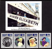 ASCENSION ISLAND - 1985 LIFE & TIMES OF QUEEN ELIZABETH THE QUEEN MOTHER SET (4V) & MS FINE MNH ** SG 376-379, MS380 - Ascension