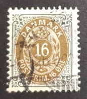 1895-1901 Royal Emblem, 16 Øre, Danmark, Denmark, Danemark, *, ** Or Used - Usati