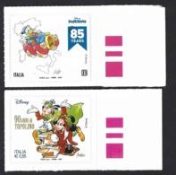 Italia 2019-2017; Paperino, In Auto + Topolino Come Dante, Fumetti Disney In Italia; Francobolli Di Bordo Destro. - 2011-...: Mint/hinged