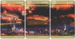 CHINA E-184 Prepaid ChinaTelecom - Occasion, Hong Kong Back To China (puzzle) - 3 Pieces - Used - China