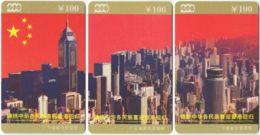CHINA E-187 Prepaid ChinaTelecom - Occasion, Hong Kong Back To China (puzzle) - 3 Pieces - Used - China