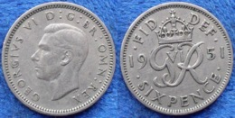 UK - 6 Pence 1951 KM# 875  George VI (1936-1952) - Edelweiss Coins - 1902-1971: Postviktorianische Münzen