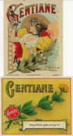 2  ETIQUETTES APERITIF GENTIANE - TRES BELLE ILLUSTRATION - Etiketten