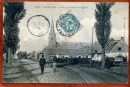 59    CPA  LECELLES     Plan Animé   Rue Et Place De L'Eglise  Plan Rare   Défaut Central Recollé, En L'état - France