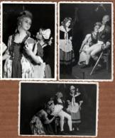 3 Photos Originales Déguisement Marquis & Marquises Sur Scène En Représentation Théâtrale Vers 1940/50 Acteur & Actrice - Anonieme Personen
