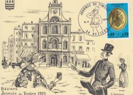 Carte  Locale  1er  Jour  JOURNEE  Du  TIMBRE    BEZIERS   1975 - Tag Der Briefmarke