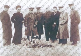 """[2017, Space, Dogs, Animals] Postcard """"[Dogs Dezik And Tsygan After Landing. Third Right S.P. Korolev. Kapustin Yar]"""". - Russia"""