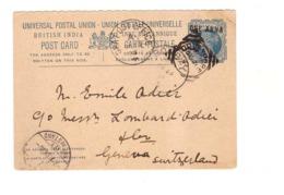 Entier Postal Inde Britannique Cachet 1893 Bombay Sea Post Office A Pour La Suisse , British India - Inde (...-1947)