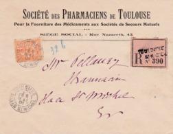 N° 117 - Mouchon 15 Centimes  Seul Sur Lettre Papiers D'affaires,  Recommandée De TOULOUSE - Postmark Collection (Covers)