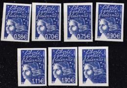 France 7 Valeurs Impression Taille Douce En Bleu Non Dentelées Papier Cartonné - 1997-04 Marianne Du 14 Juillet