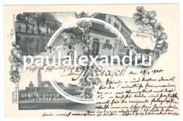 Romania Medias Mediasch 1900 LITHO Marktplatz Forkenschgasse Hotel Zum Schutzen - Perfect Condition - Rumania