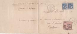 N° 118 - Mouchon 25 Centimes  Paire Sur  Gros Fragment  Papiers D'affaires(8ème échelon ) Recommandés De TOULOUSE - Postmark Collection (Covers)