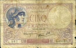 Ref. 424-779 - BIN FRANCE . 1939. 5 FRANCS - 1939 . 5 FRANCOS - 1939 - Sin Clasificación