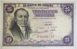 Ref. 230-1088 - BIN SPAIN . 1946. 25 Pesetas 19th February 1946 - Florez Estrada.. 25 Pesetas 19 De Febrero 1946 - Flore - [ 3] 1936-1975 : Régence De Franco
