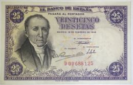 Ref. 230-1088 - BIN SPAIN . 1946. 25 Pesetas 19th February 1946 - Florez Estrada.. 25 Pesetas 19 De Febrero 1946 - Flore - [ 3] 1936-1975 : Régimen De Franco
