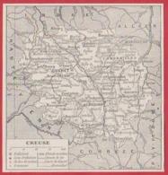 Carte Du Département De La Creuse (23). Préfecture, Sous Préfecture, Chef Lieu , Commune, évêché... Larousse 1931. - Documents Historiques