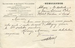 Ardennes. ATTIGNY. 1932. Courrier De La Sucrerie - Vecchi Documenti