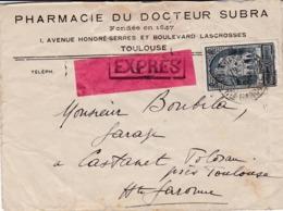 N°259- Cathédrale De Reims Seul  Sur Lettre Expres De TOULOUSE - Postmark Collection (Covers)