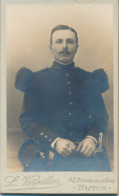CDV : Portrait Du Militaire Fébor Julien Du 29ème Régiment D'Infanterie Par L. Verpillier à Autun -  Scan Recto/verso - Oud (voor 1900)