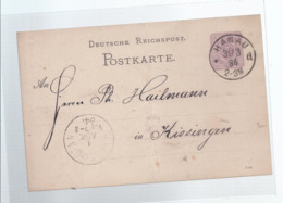 AK-div-32- 682  -  Ganzsache Deutsches Reich - Von Hanau Nach Kissingen - 1884 - Germany