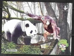 INDONESIA, 2019, MNH, CHINA STAMP EXHIBITION, PANDAS, PRIMATES, ORANG UTANS, SHEETLET - Scimmie