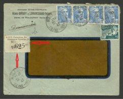 Dpt. 76 / étiquette Assurances Sociales PTT / Recommandé Provisoire MALAUNAY 28.07.1947 / Affr. Gandon - Marcophilie (Lettres)