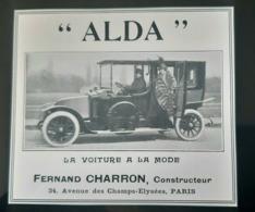 CHARRON AUTOMOBILE LUXE 1915 ALDA VOITURE A LA MODE PUBLICITE ANCIENNE PARIS VOITURES AUTO AUTOMOBILES ANTIQUE AD CAR - Pubblicitari