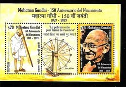 FF48 URUGUAY 2019 INDE INDIA GANDHI NOW AVALAIBLE 150° ANIVERSARY SOUVENIR SHEET BLOC Mnh,neuf,postfrisch - Mahatma Gandhi
