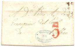 Pais Vasco Prefilatelia 1842 Carta De Tolosa A Bilbao Marcas Nº9 Tolosa - Porteo 5 - España