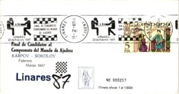 Chess Schach Echecs Ajedrez-Linares.Spain 1987_Candidates Final For The Chess World Championship_Souvenir Cover_CCC 2230 - Schach