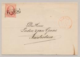 Nederland - 1868 - 10 Cent Willem III, 2e Emissie - Enkelfrankering Op Omslag Van 2LT Almelo Naar Amsterdam - Periode 1852-1890 (Willem III)