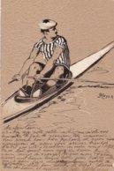 Illustrateur - N° 183 - Heyer - RAMEUR EN CANOË -  ROWER IN CANOE - Carte Gaufrée.genre Kirchner - Künstlerkarten