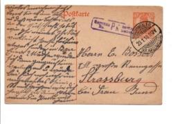 ALSACE LORRAINE CARTE DE BISCHWEILER POUR STRASBOURG 1918 - Alsazia-Lorena