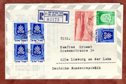 Aerogramme, Luftfaltbrief, Einschreiben Reco, Wappen Ramla U.a., Tel Aviv Yafo Nach Limburg 1973 (82216) - Storia Postale