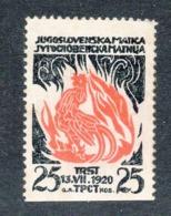 1920, POSTER STAMP, YUGOSLAVIA, JUGOSLOVENSKA MATICA, YUGOSLAV SOCIETY TRIESTE, ITALY - 1919-1929 Kingdom Of Serbs, Croats And Slovenes
