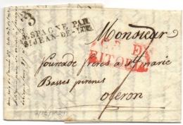 Marque ESPAGNE PAR SAINT JEAN DE LUZ Sur Marque Espagne VITORIA 1829 - Marcofilia (sobres)