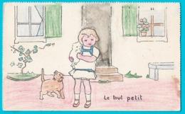 """Cpa """"le Tout Petit"""",enfant Chat Dans Les Bras Et Chat à Ses Pieds - Children"""