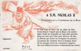 ILLUSTRATEUR WILLETTE CARTE PETITION AU TSAR NICOLAS II, PROMOTEUR DE LA CONFERENCE DE LA HAYE POLITIQUE RUSSIE - Satiriques