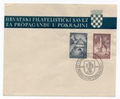 13.04.1941.YUGOSLAVIA, CROATIA, ZAGREB, FDC, COMMEMORATIVE ISSUE: CROATIAN FILATELIST SOCIETY  FOR REGIONS PROPAGANDA - FDC