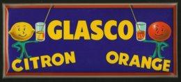 "CHER / Plaquette Rigide "" GLASCO Citron - Orange "" / Origine Distillerie MONIN à BOURGES - Pubblicitari"