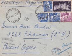 FRANCE ENVELOPPE CIRCULEE DE CHARTRE A CHARCAS, BUENOS AIRES, ARGENTINA. ANNEE 1952 PAR AVION-LILHU - Airmail
