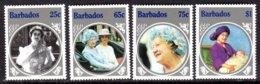 BARBADOS - 1985 LIFE & TIMES OF QUEEN ELIZABETH THE QUEEN MOTHER SET (4V) FINE MNH ** SG 779-782 - Barbados (1966-...)