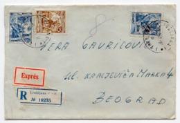 1958 YUGOSLAVIA, SLOVENIA, LJUBLJANA TO BELGRADE, TPO 3 SEZANA-BELGRADE, REGISTERED, EXPRESS MAIL - 1945-1992 Socialistische Federale Republiek Joegoslavië
