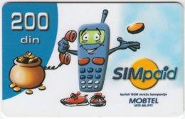 SERBIA A-221 Prepaid MobTel - Cartoon, Communication, Mobile Phone - Used - Jugoslawien