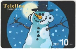 SWITZERLAND D-069 Prepaid Teleline - Cartoon, Winter - Used - Schweiz